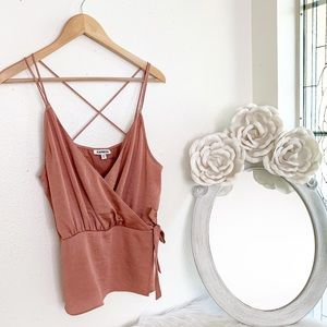 Express Faux Rose Gold Crisscross Camisole